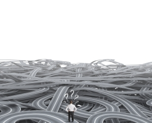 Concept of a businessman in front of a confusion of road
